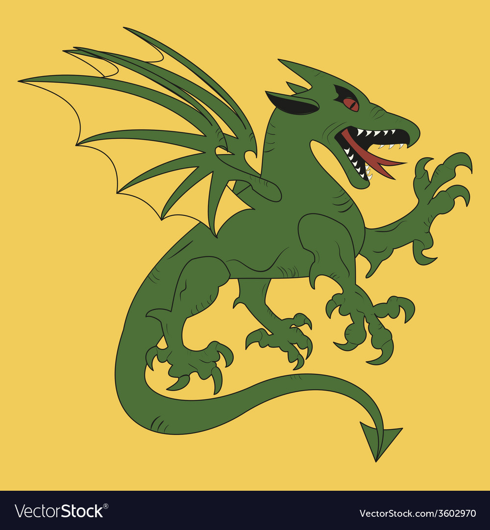 Green dragon coat of arms vector | Price: 1 Credit (USD $1)