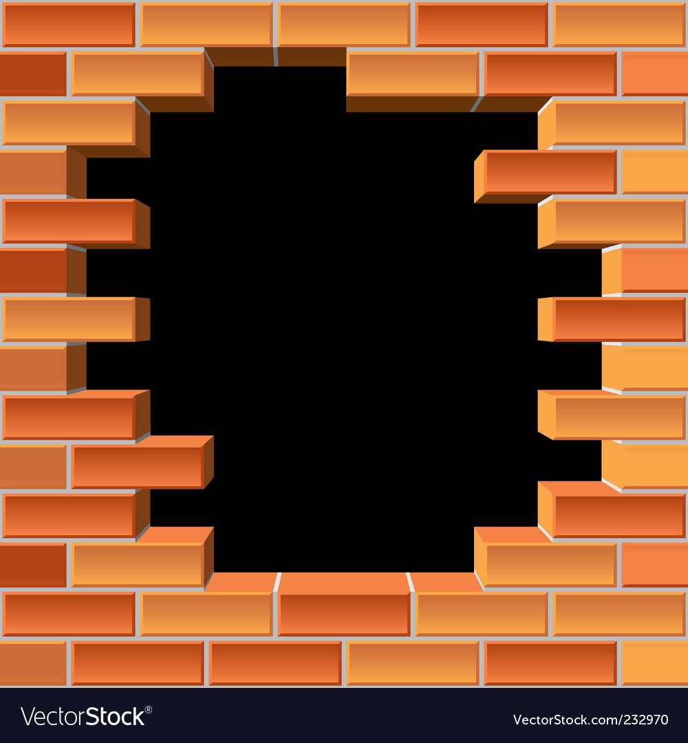 Hole in brick wall vector | Price: 1 Credit (USD $1)