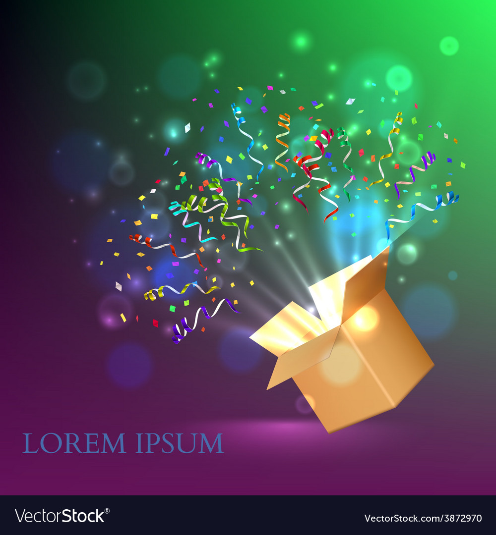 Open box with fireworks from confetti vector | Price: 1 Credit (USD $1)
