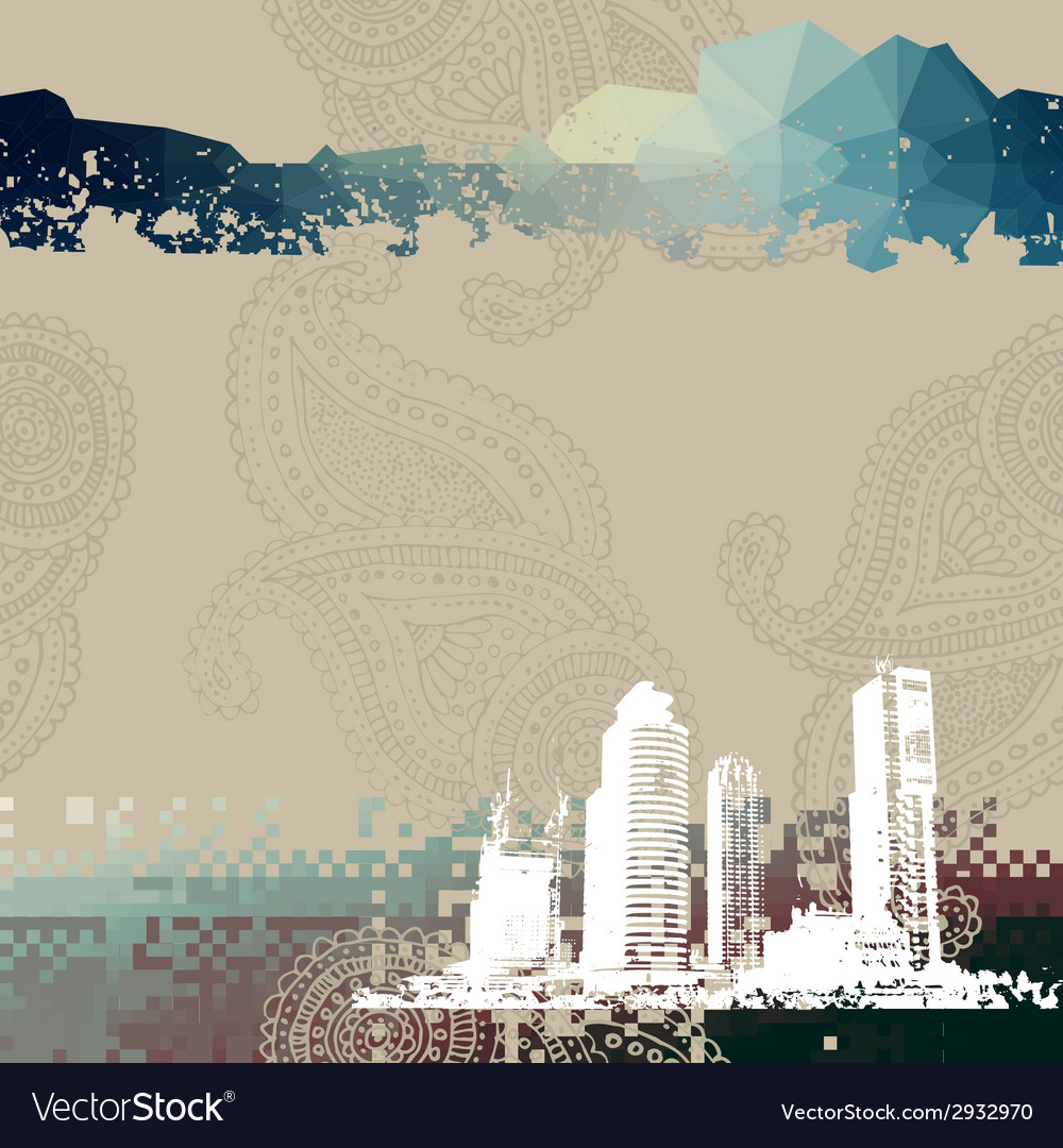 Place for text with grunge city vector | Price: 1 Credit (USD $1)