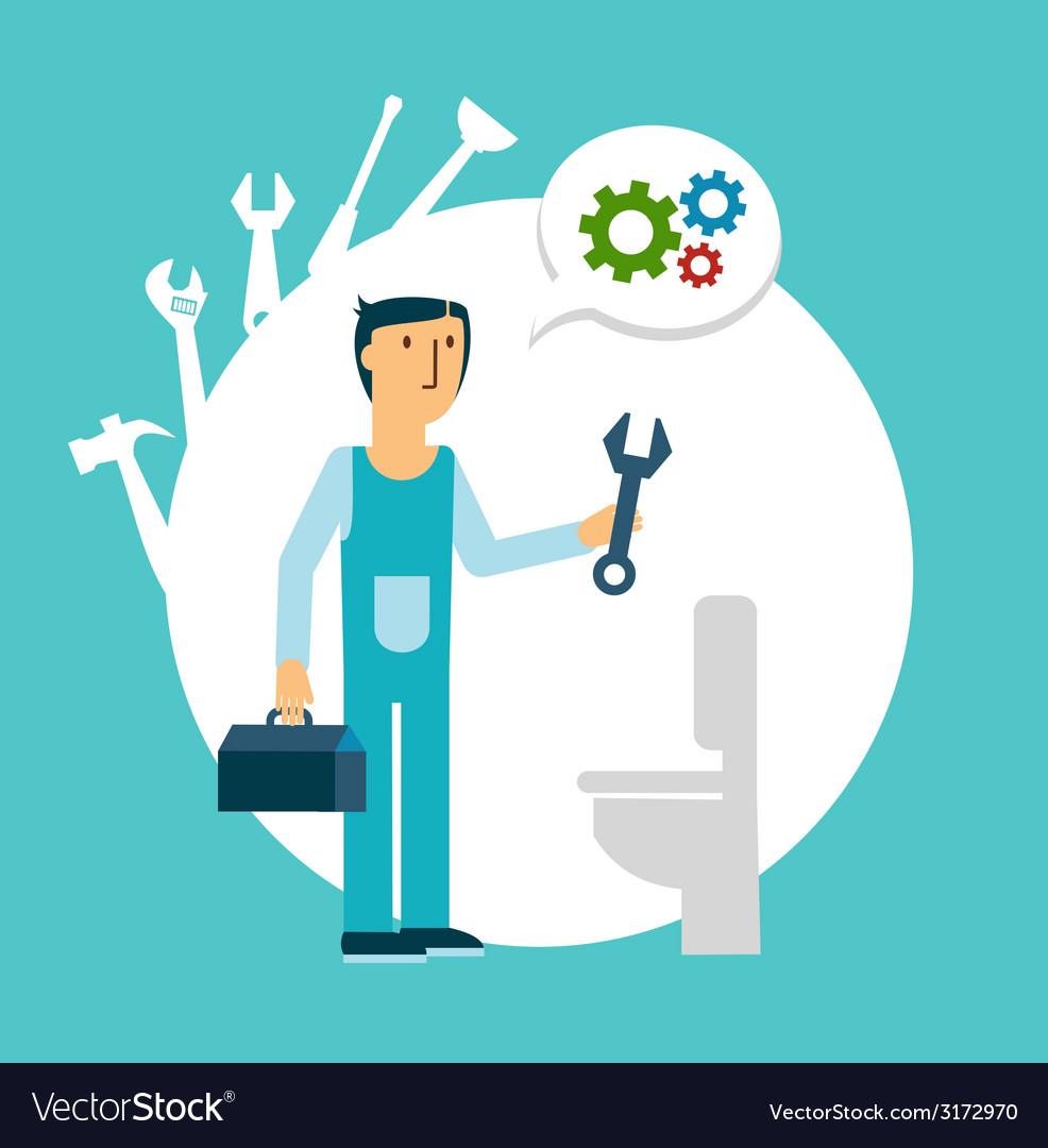 Plumber repairing a toilet vector | Price: 1 Credit (USD $1)