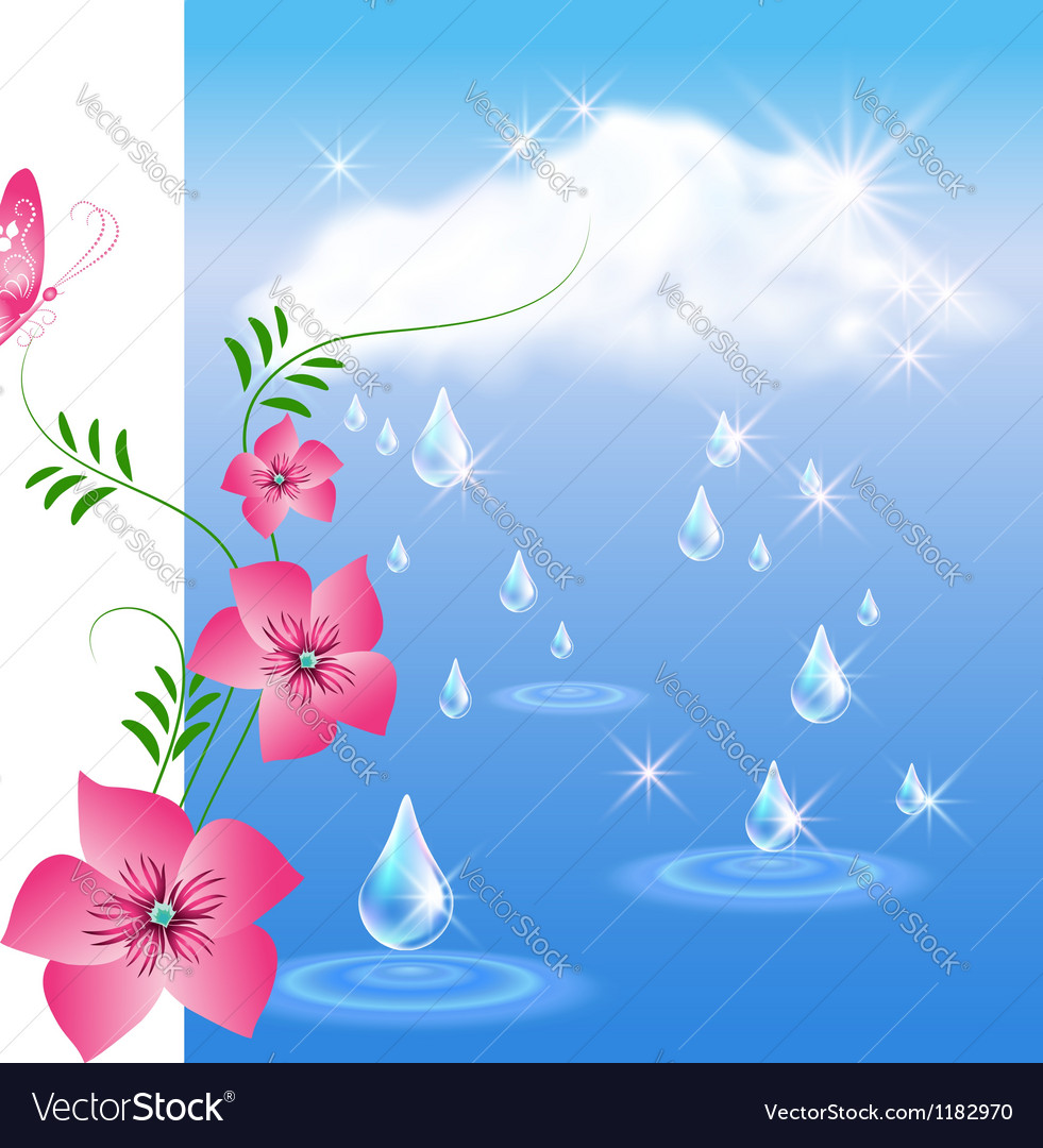 Rain and flowers vector | Price: 1 Credit (USD $1)