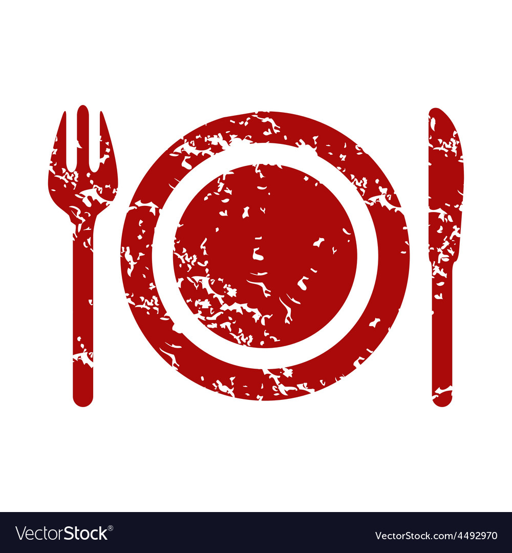 Red grunge dinner logo vector | Price: 1 Credit (USD $1)