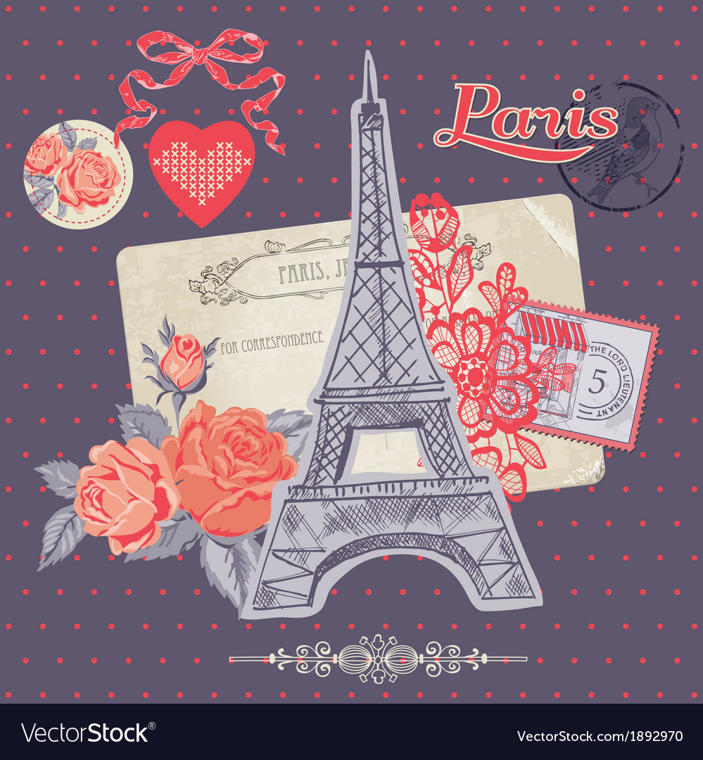 Scrapbook design elements - paris vintage card vector | Price: 1 Credit (USD $1)