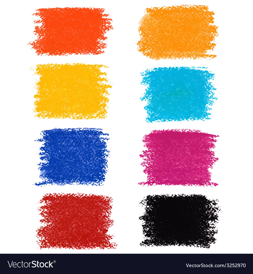 Set of pastel crayon spots isolated on white vector | Price: 1 Credit (USD $1)