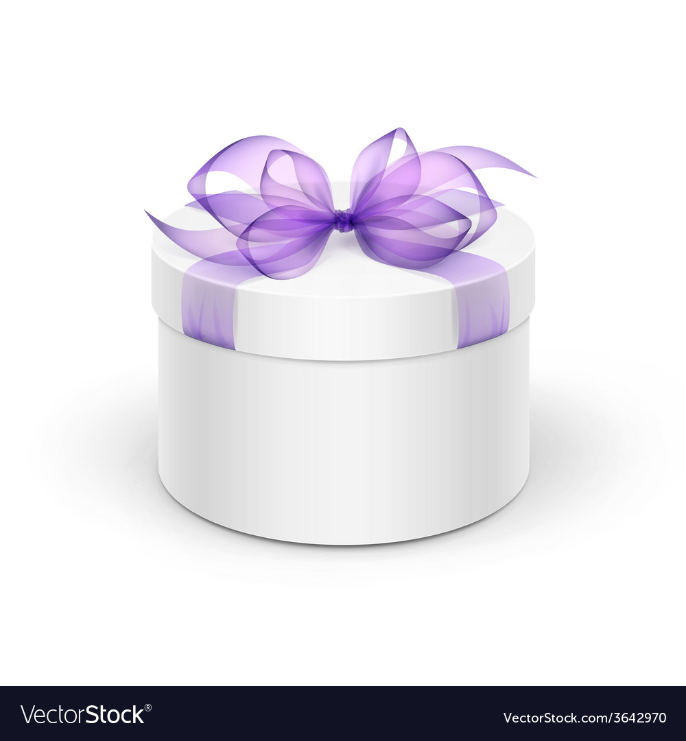 White round gift box with purple ribbon and bow vector | Price: 1 Credit (USD $1)