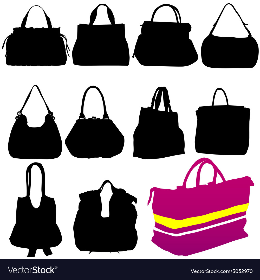 Woman fashion bag black silhouette vector | Price: 1 Credit (USD $1)