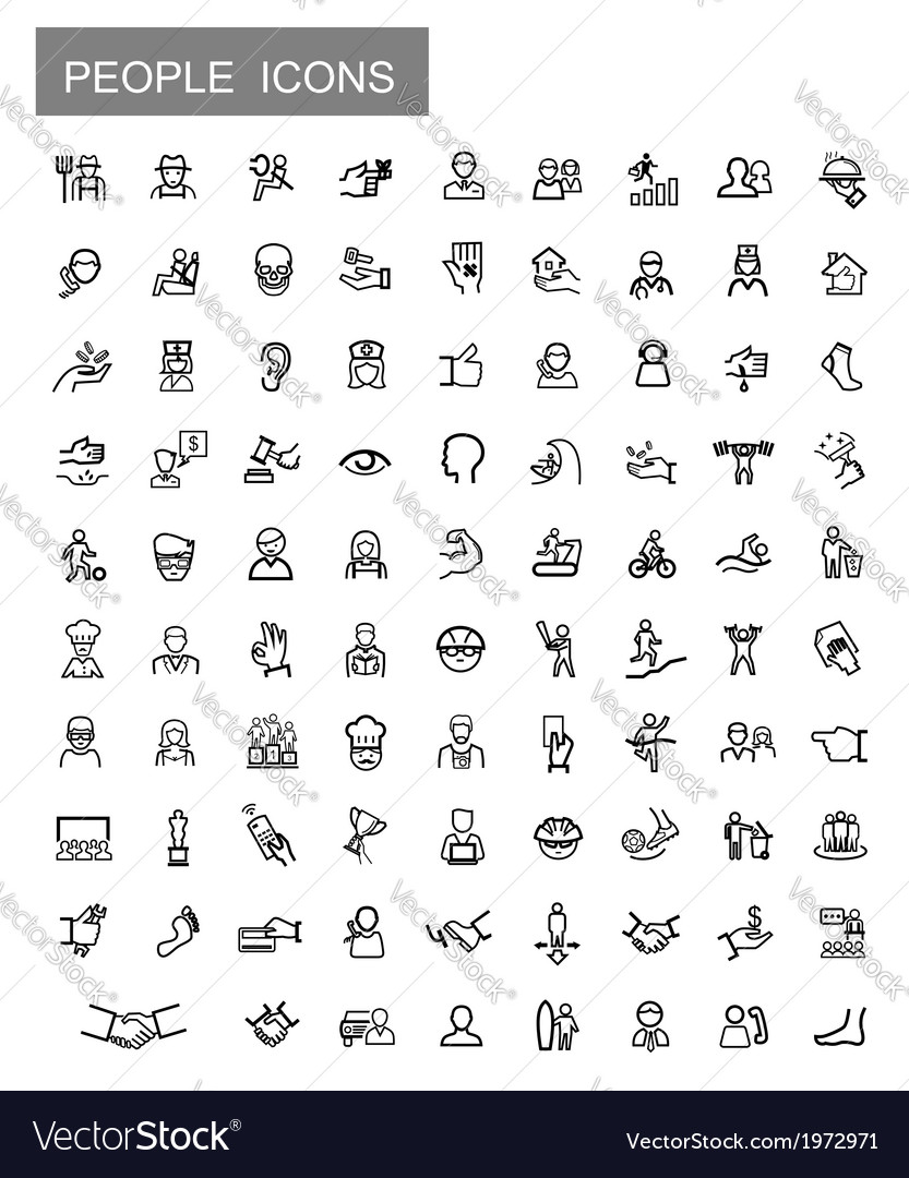 Black people icons set vector | Price: 1 Credit (USD $1)
