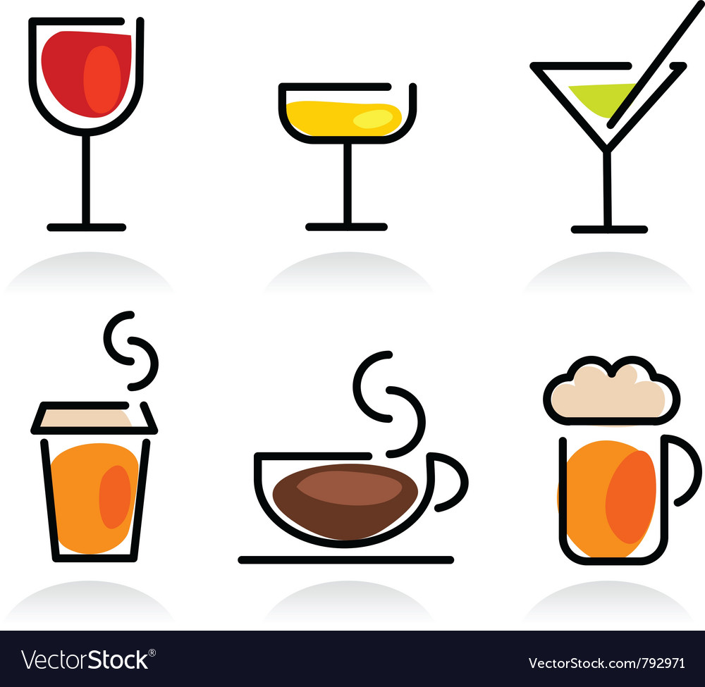 Colorful beverage icon set vector | Price: 1 Credit (USD $1)