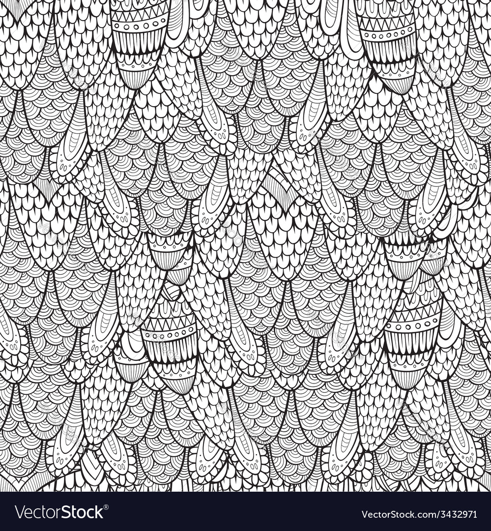 Decorative hand drawn abstract seamless pattern vector | Price: 1 Credit (USD $1)