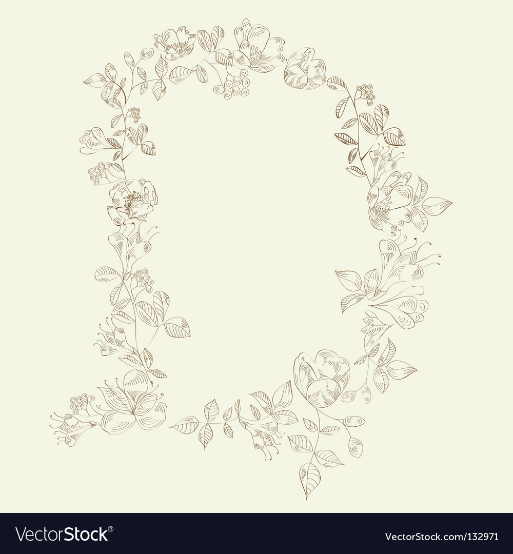 Floral font letter d vector | Price: 1 Credit (USD $1)