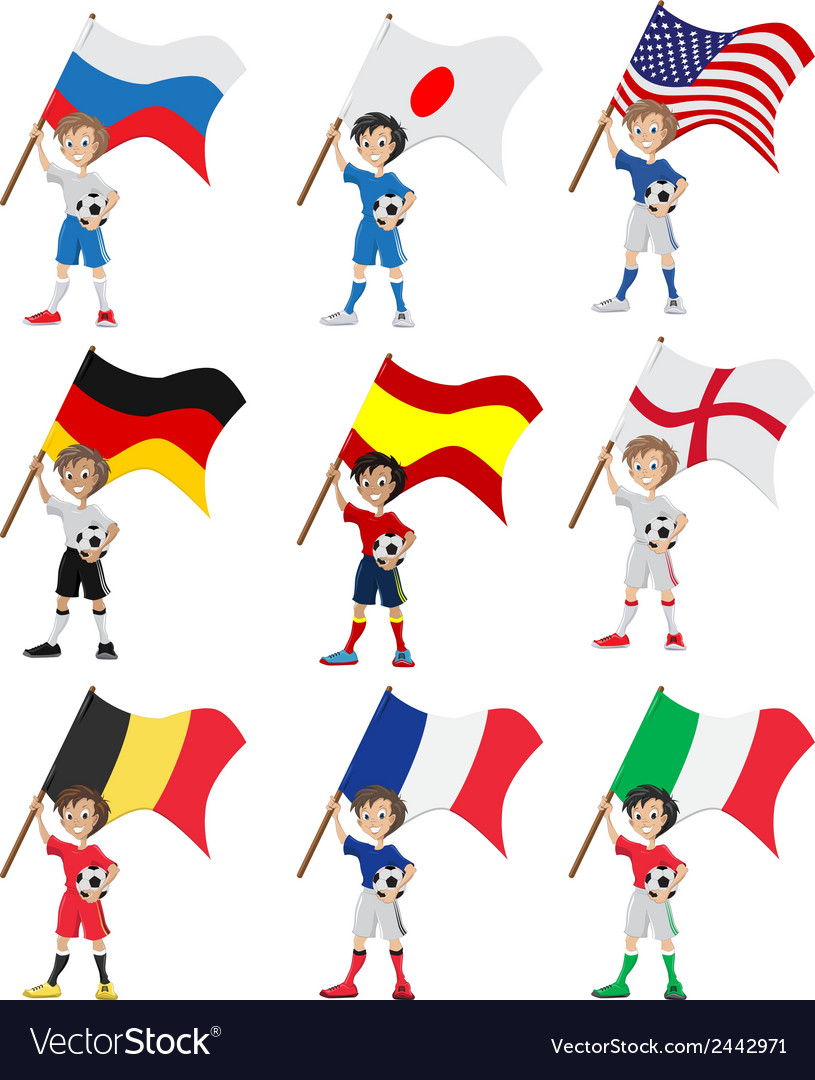 Happy soccer fan holds flag vector | Price: 1 Credit (USD $1)