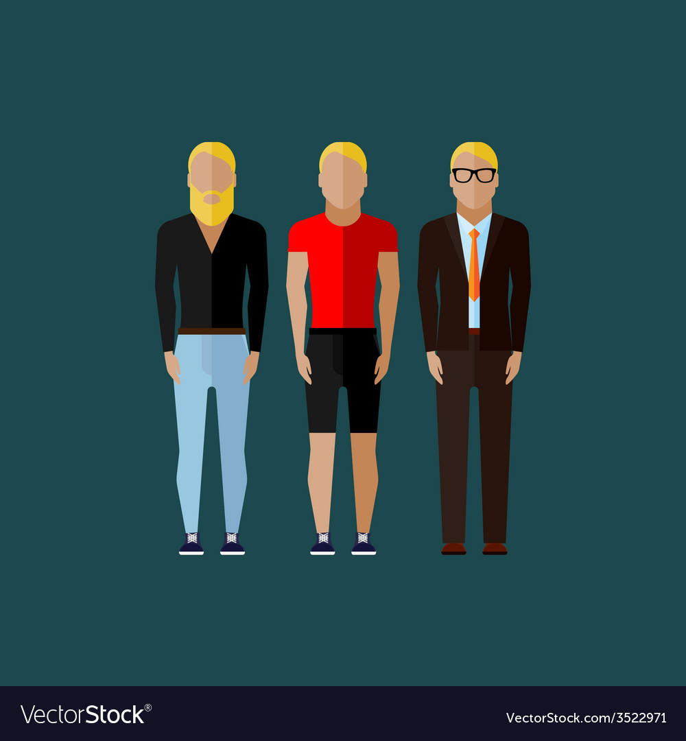 Men fashion style in flat style vector | Price: 1 Credit (USD $1)