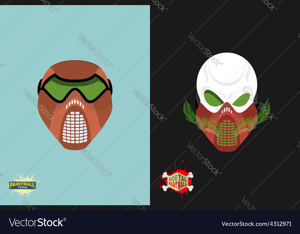 Paintball helmet and mask scary skull with smoke vector | Price: 1 Credit (USD $1)