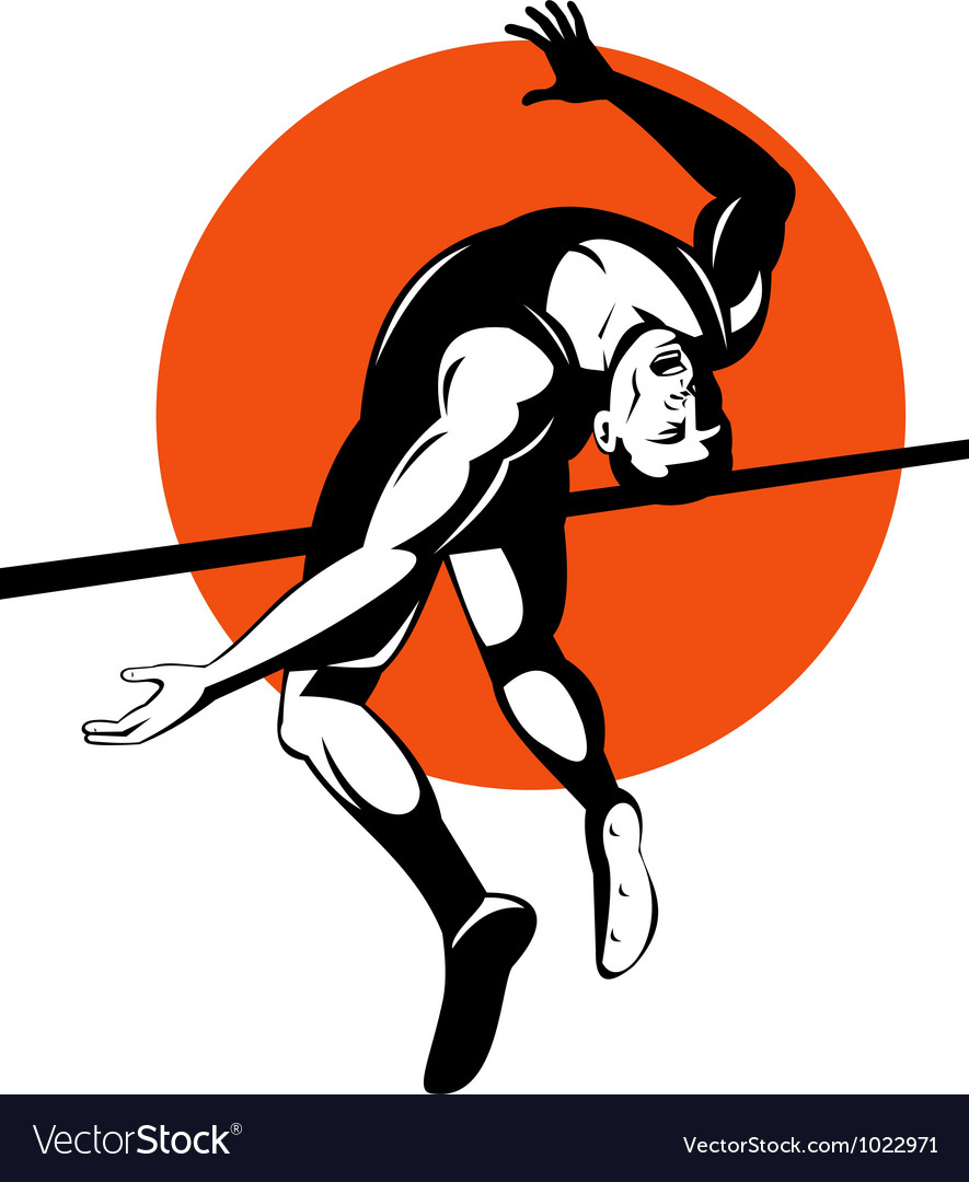 Track and field athlete jumping high jump vector   Price: 1 Credit (USD $1)