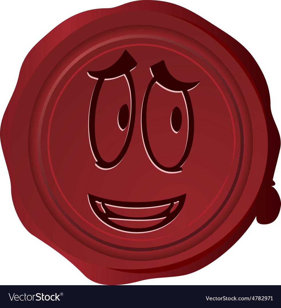 Wax seal smiley 25 vector