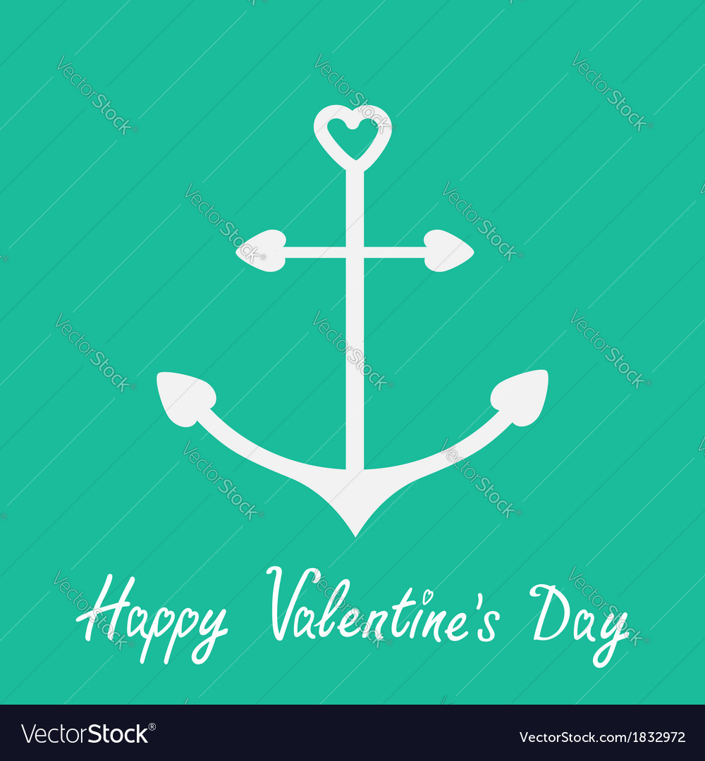 Anchor with shapes of heart happy valentines day vector | Price: 1 Credit (USD $1)