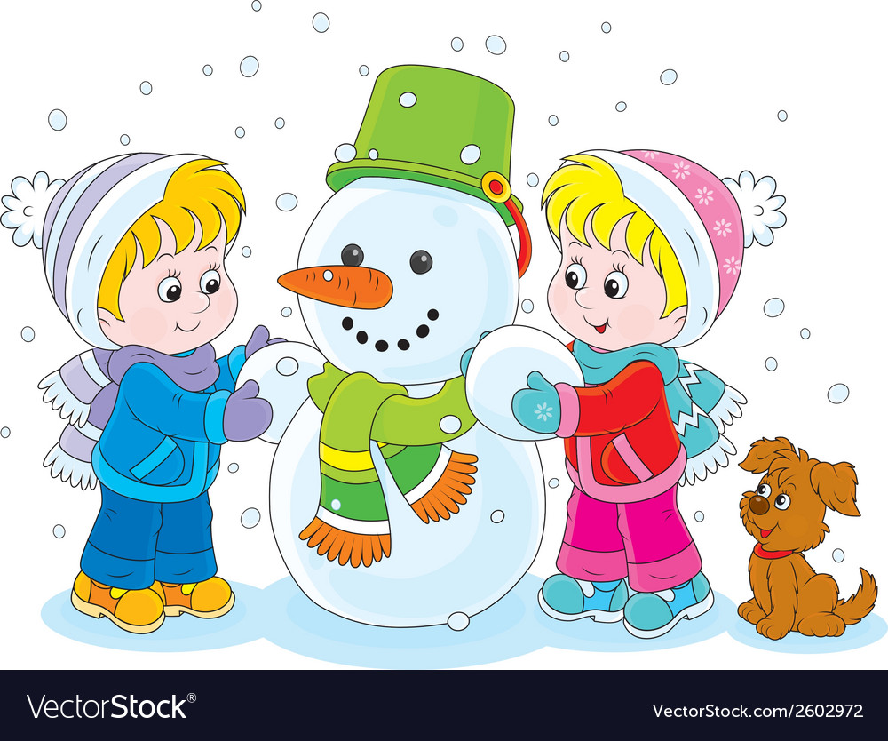 Children making a snowman vector | Price: 1 Credit (USD $1)