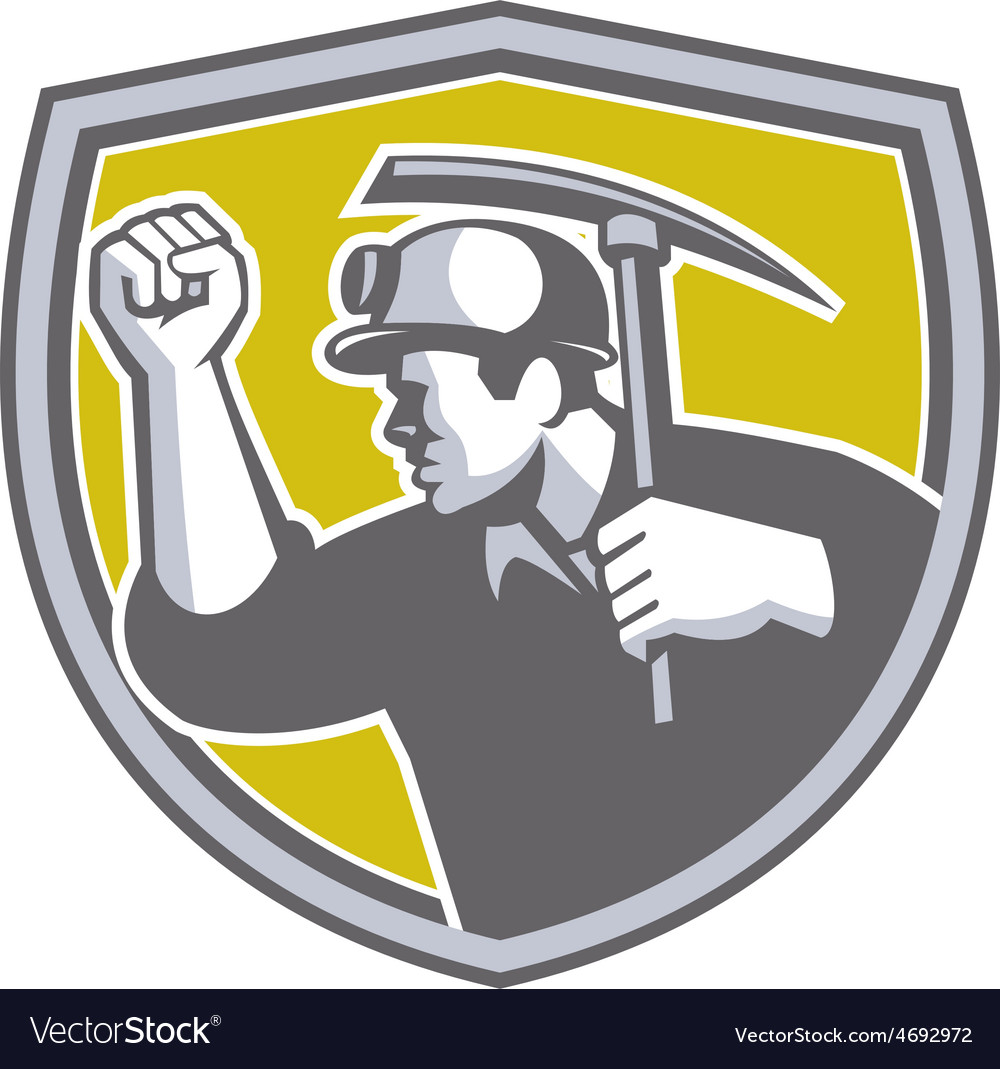 Coal miner clenched fist pick axe shield retro vector | Price: 1 Credit (USD $1)