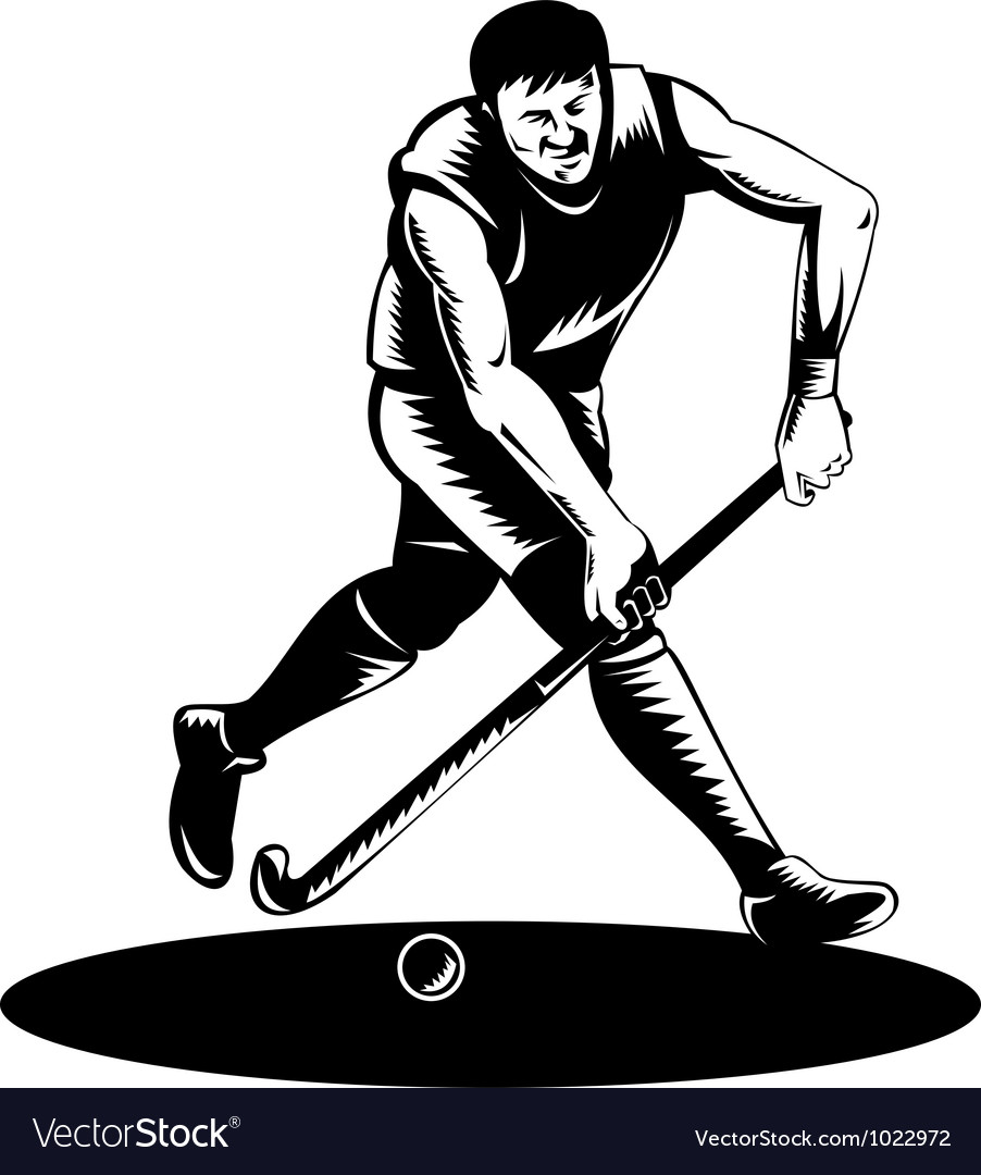 Field hockey player running with stick retro vector | Price: 1 Credit (USD $1)