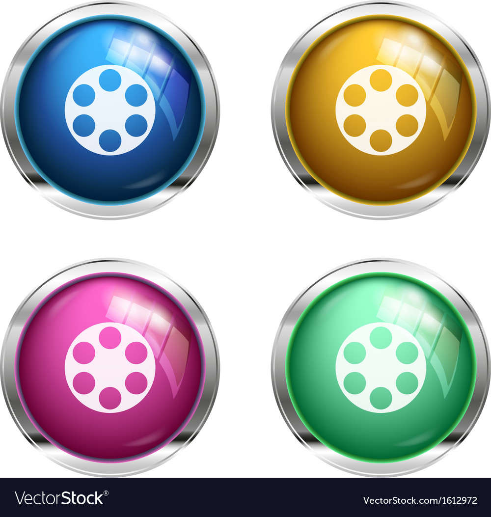 Glossy cinema buttons vector | Price: 1 Credit (USD $1)