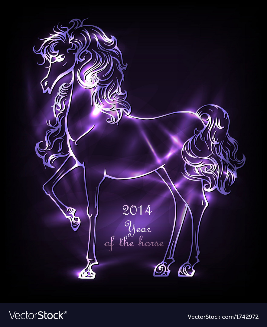 Neon horse vector | Price: 1 Credit (USD $1)