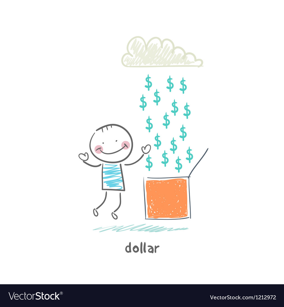 Rain of dollars vector | Price: 1 Credit (USD $1)