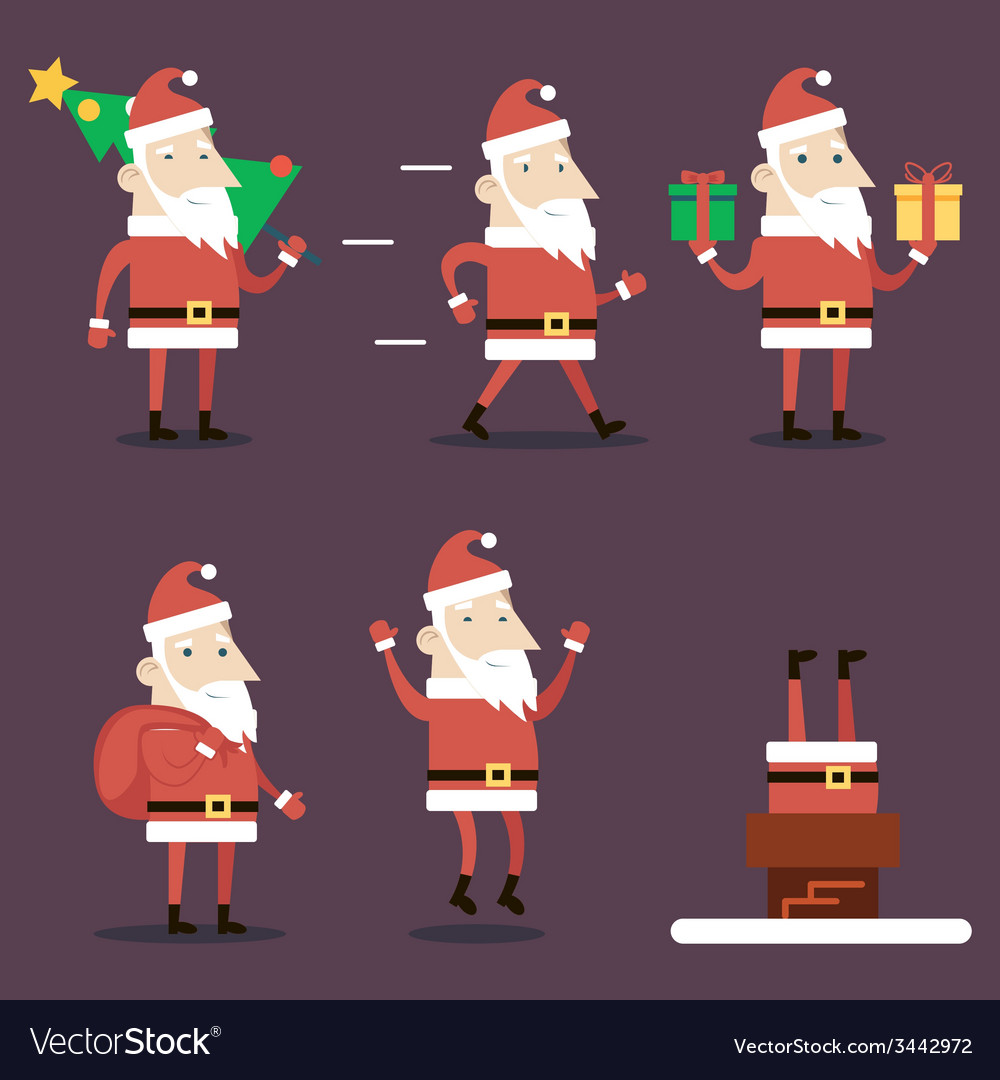 Santa claus cartoon characters set poses emotions vector