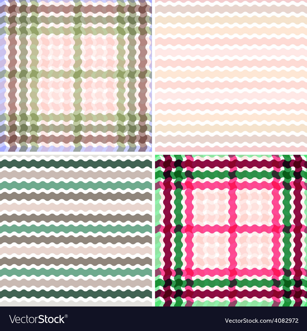 Set wave tartan gradient background seamless vector | Price: 1 Credit (USD $1)