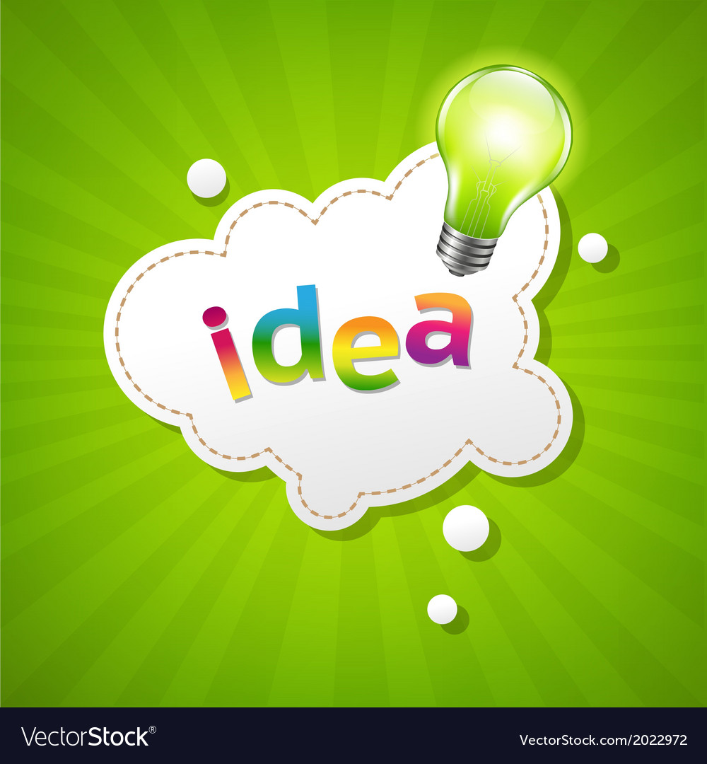 Sunburst poster with speech bubble and lamp vector | Price: 1 Credit (USD $1)