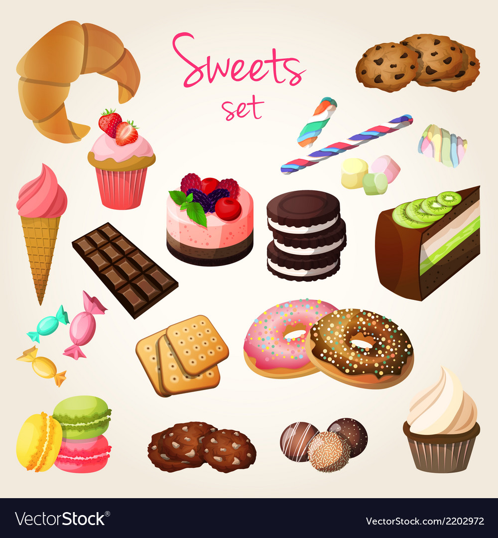 Sweets and pastry set vector   Price: 1 Credit (USD $1)