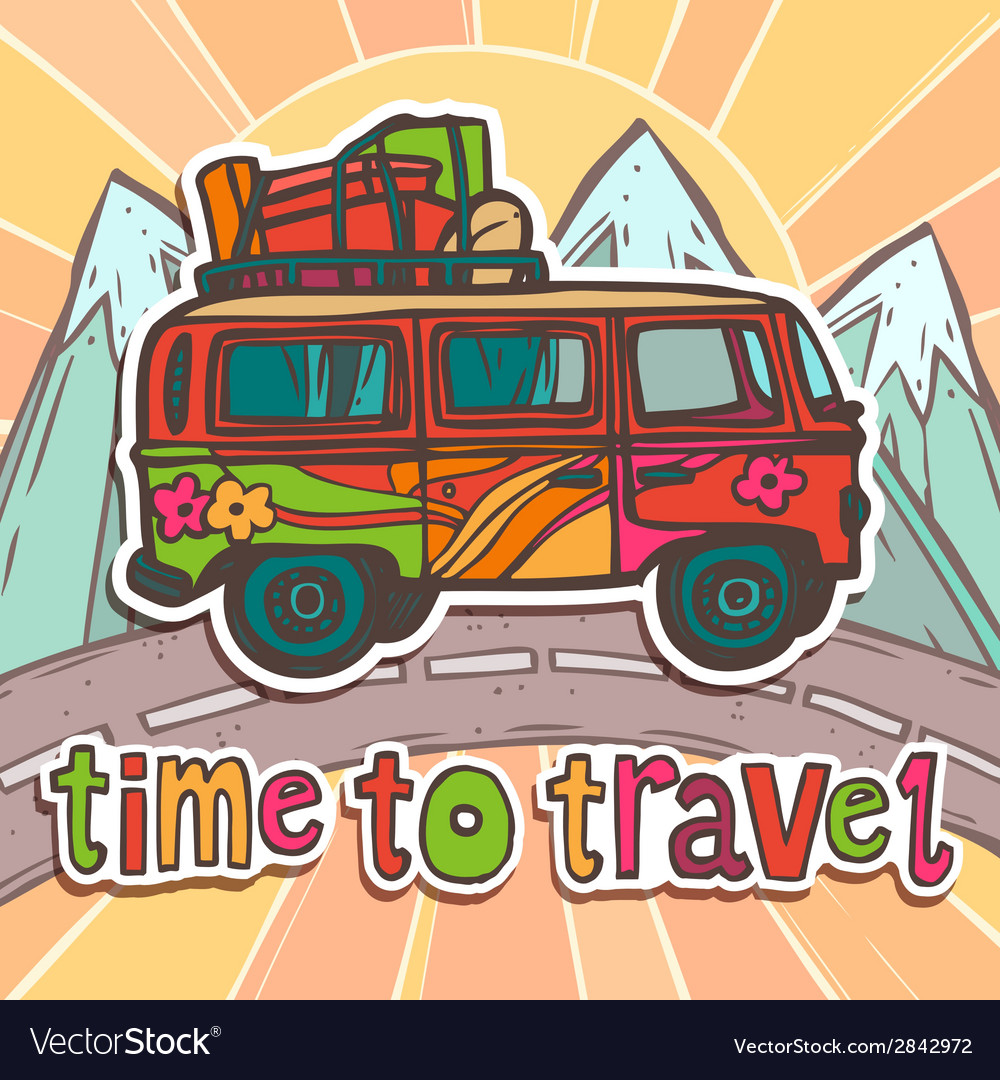 Travel poster with bus vector | Price: 1 Credit (USD $1)