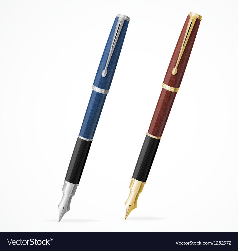 Two fountain pens isolated gold and silver vector | Price: 3 Credit (USD $3)