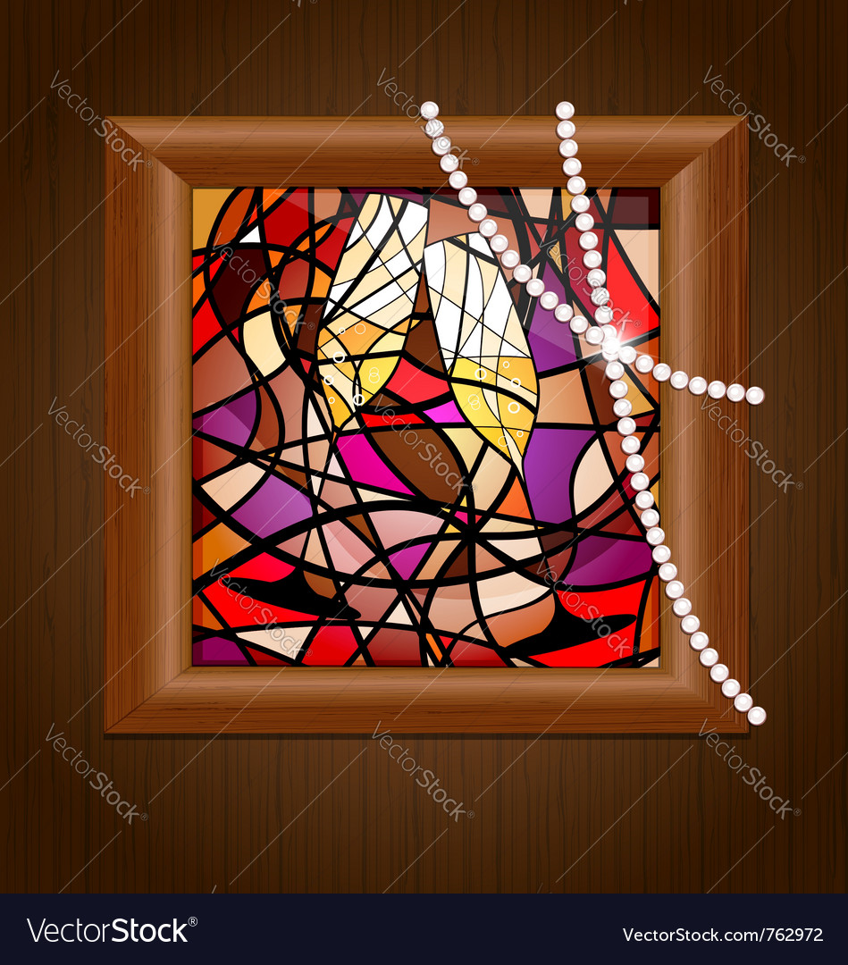 Wooden frame and stained glass with champagne vector | Price: 1 Credit (USD $1)