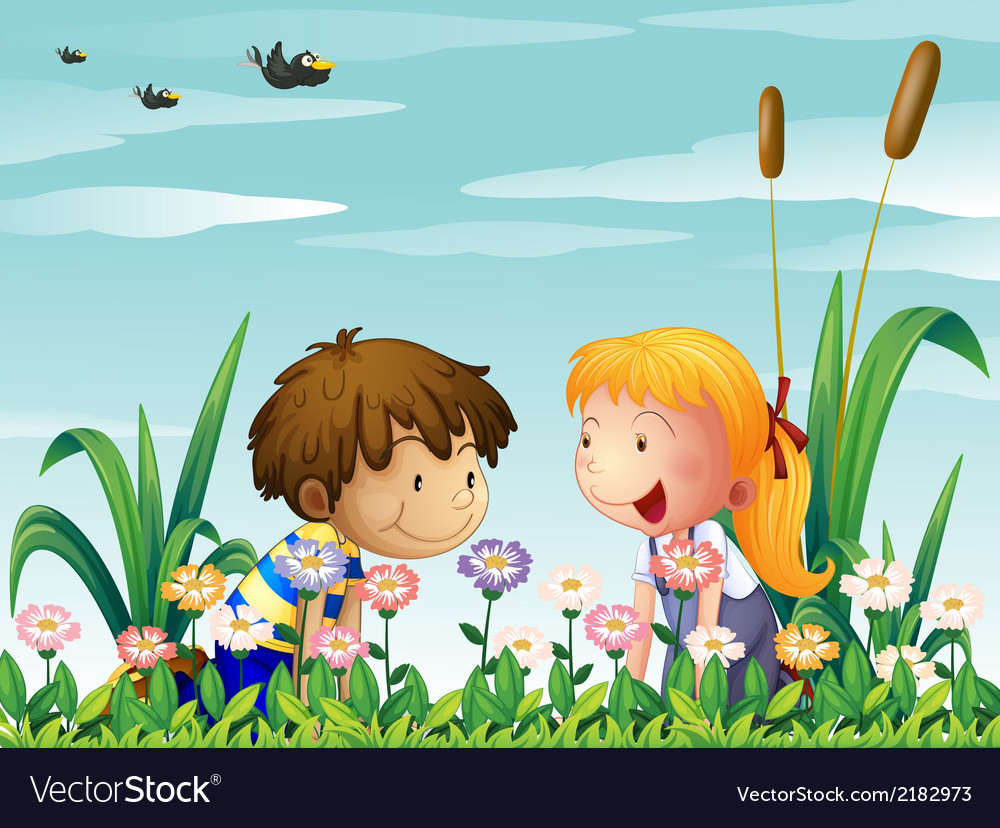 A cute girl and a cute boy watching the flowers vector | Price: 1 Credit (USD $1)