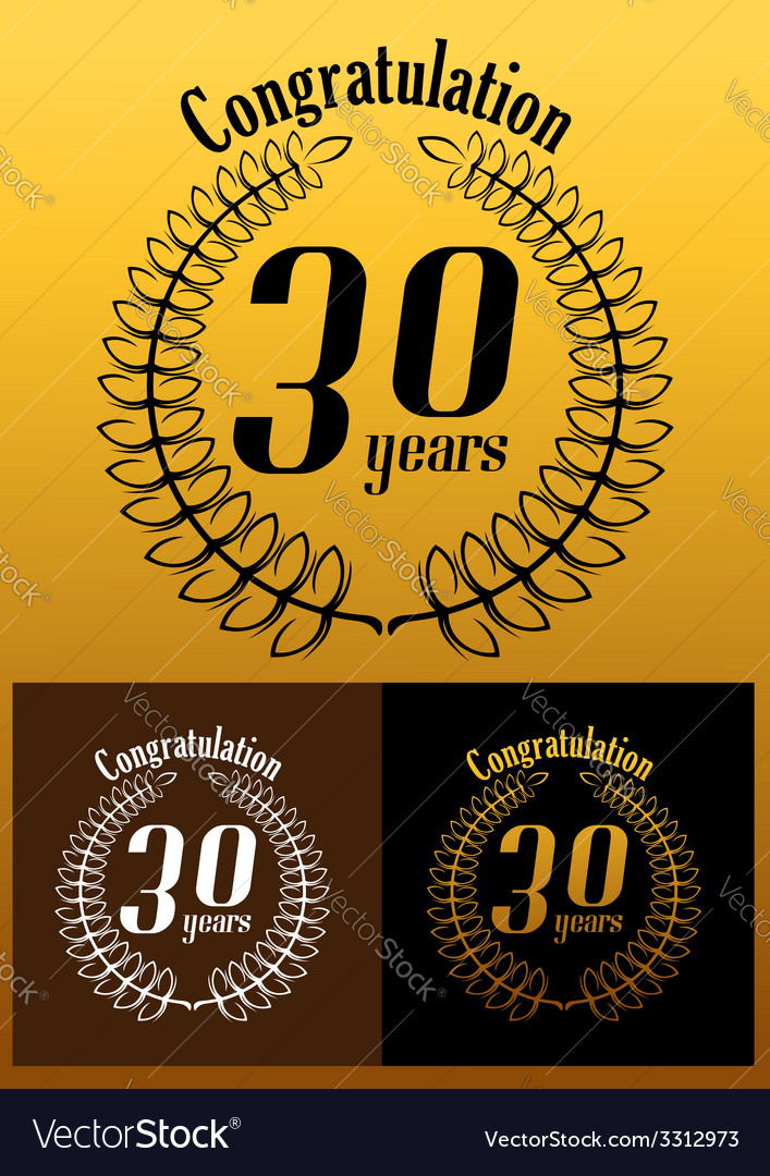 Congratulations 30 year anniversary wreath vector | Price: 1 Credit (USD $1)