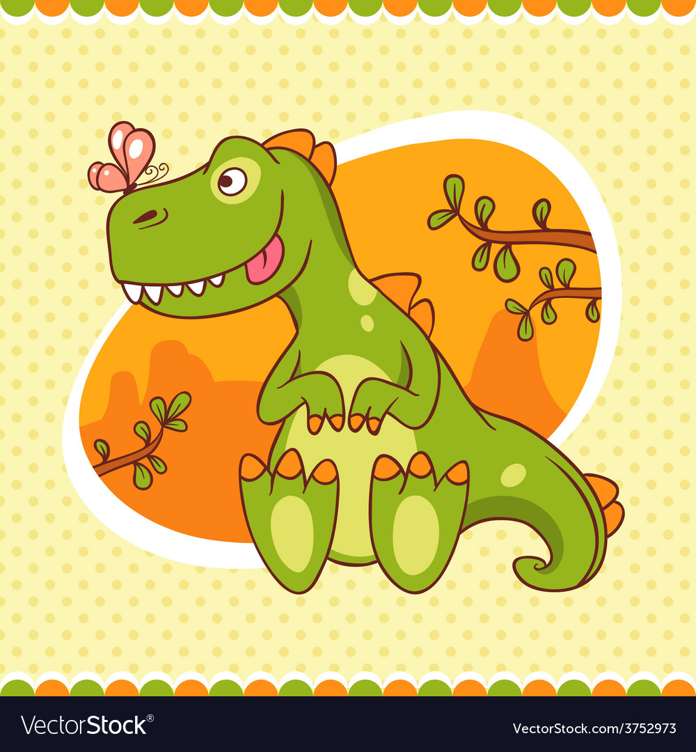 Dino and butterfly vector | Price: 1 Credit (USD $1)