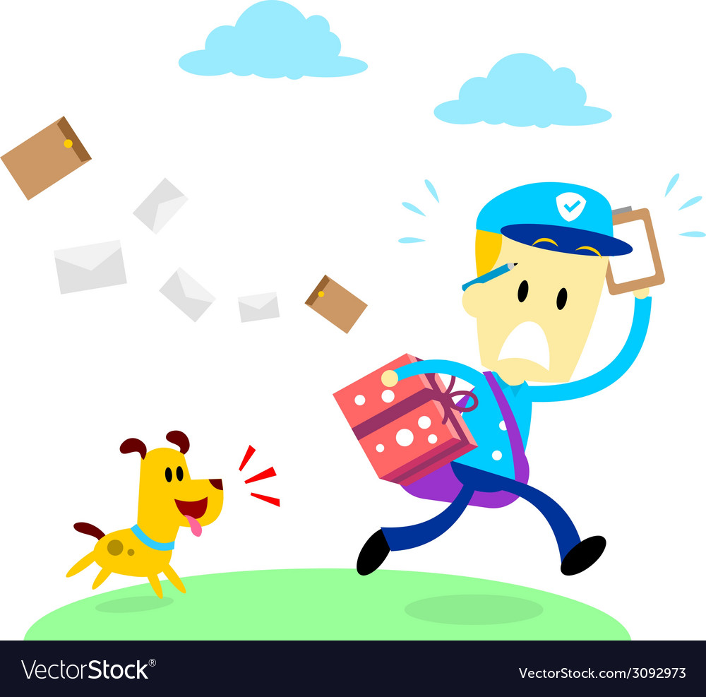 Dog chasing a mailman vector | Price: 1 Credit (USD $1)