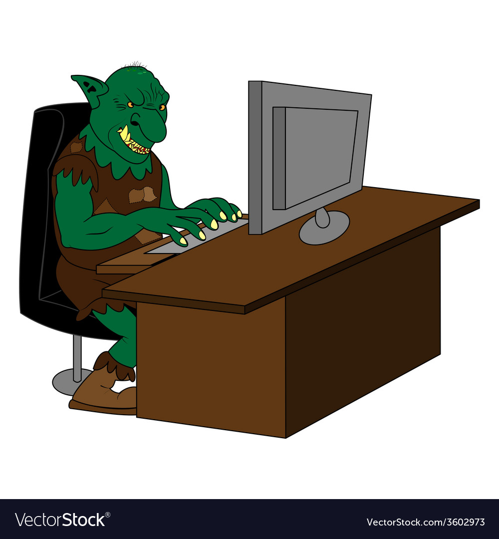 Fat internet troll using a computer vector | Price: 1 Credit (USD $1)