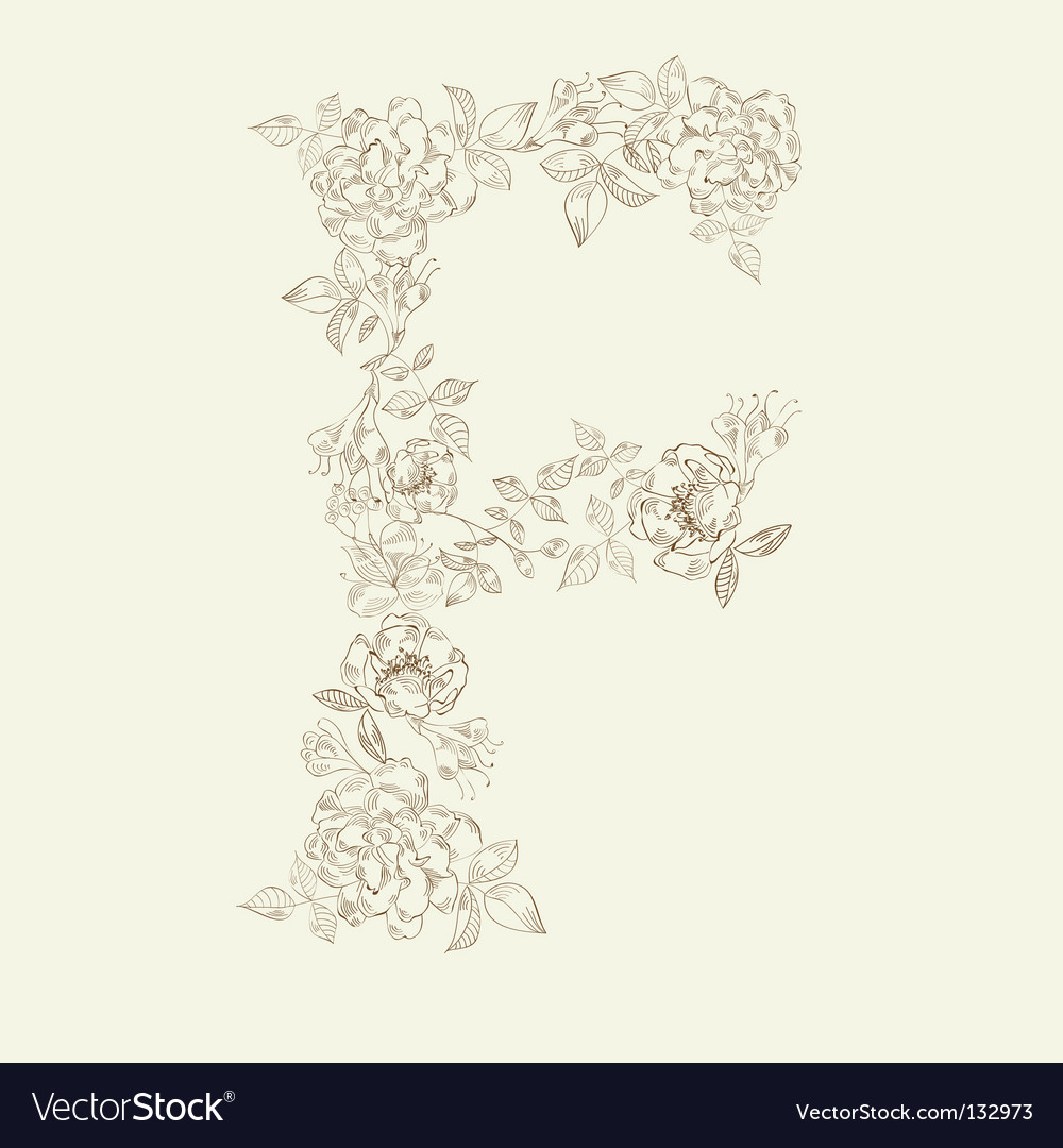Floral font letter f vector | Price: 1 Credit (USD $1)