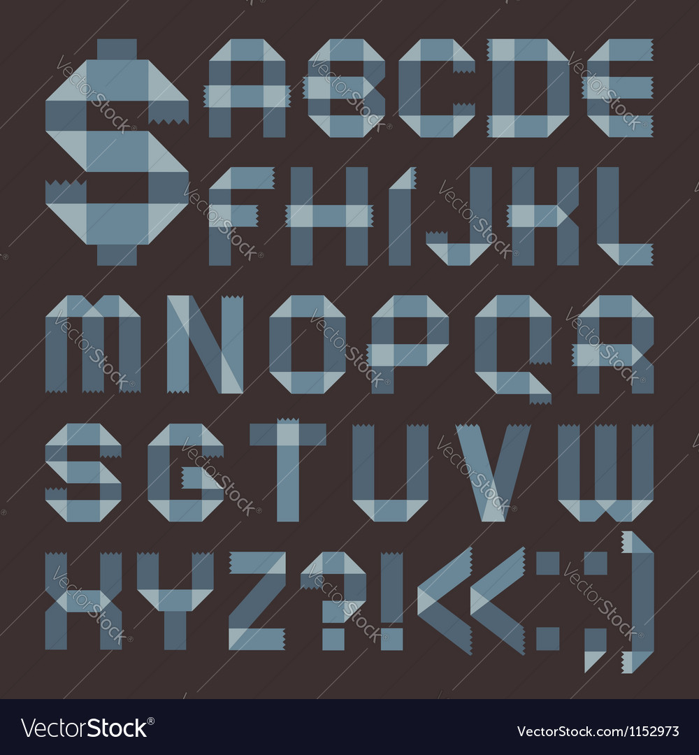 Font from bluish scotch tape - roman alphabet vector | Price: 1 Credit (USD $1)
