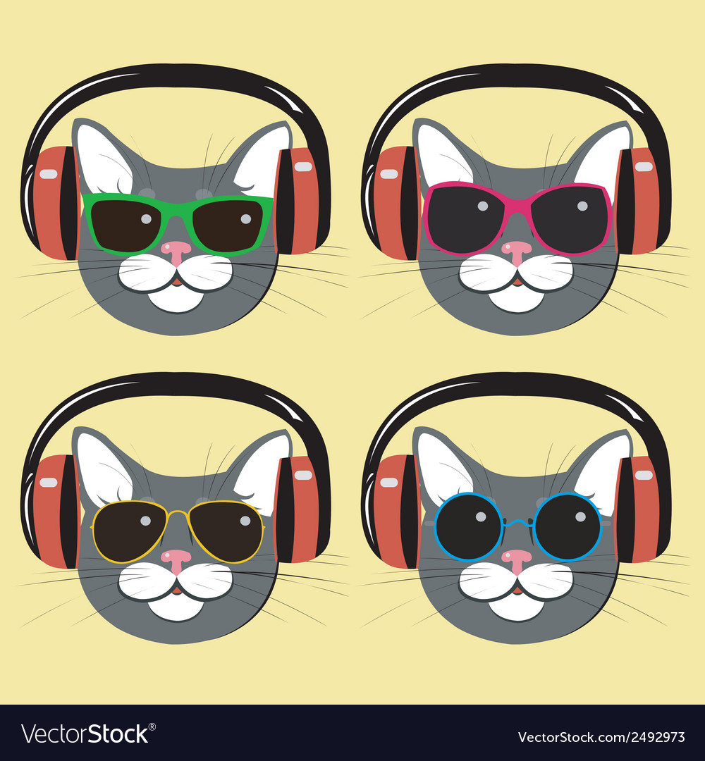 Funny cats in music headphones and sunglasses vector | Price: 1 Credit (USD $1)