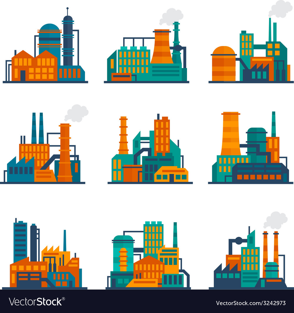 Industrial building icons set flat vector | Price: 1 Credit (USD $1)