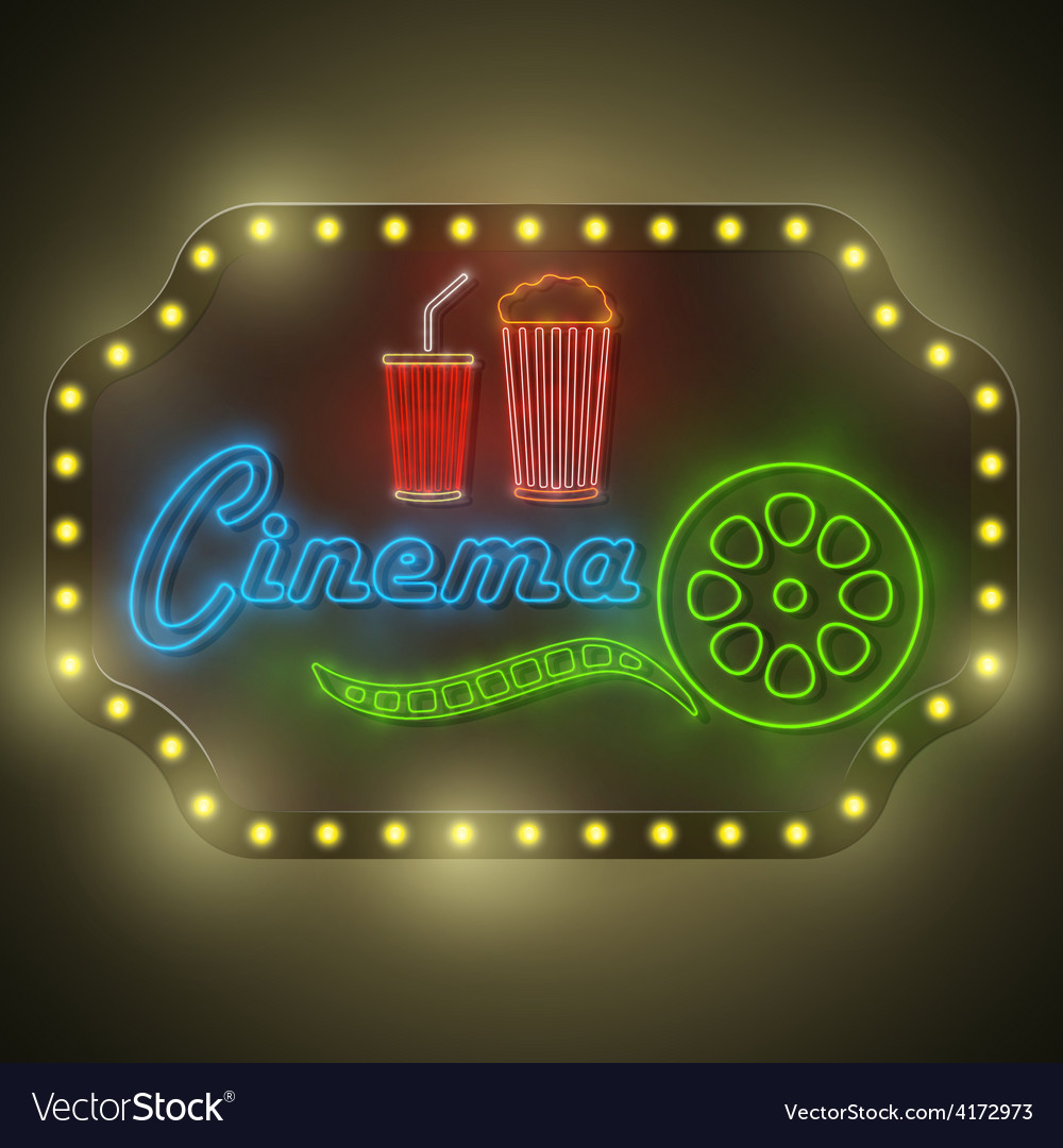 Neon colorful cinema retro billboard vector | Price: 3 Credit (USD $3)