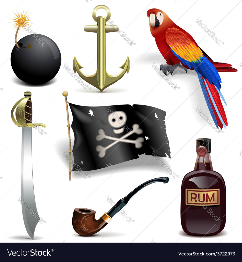 Pirate icons set 2 vector | Price: 3 Credit (USD $3)