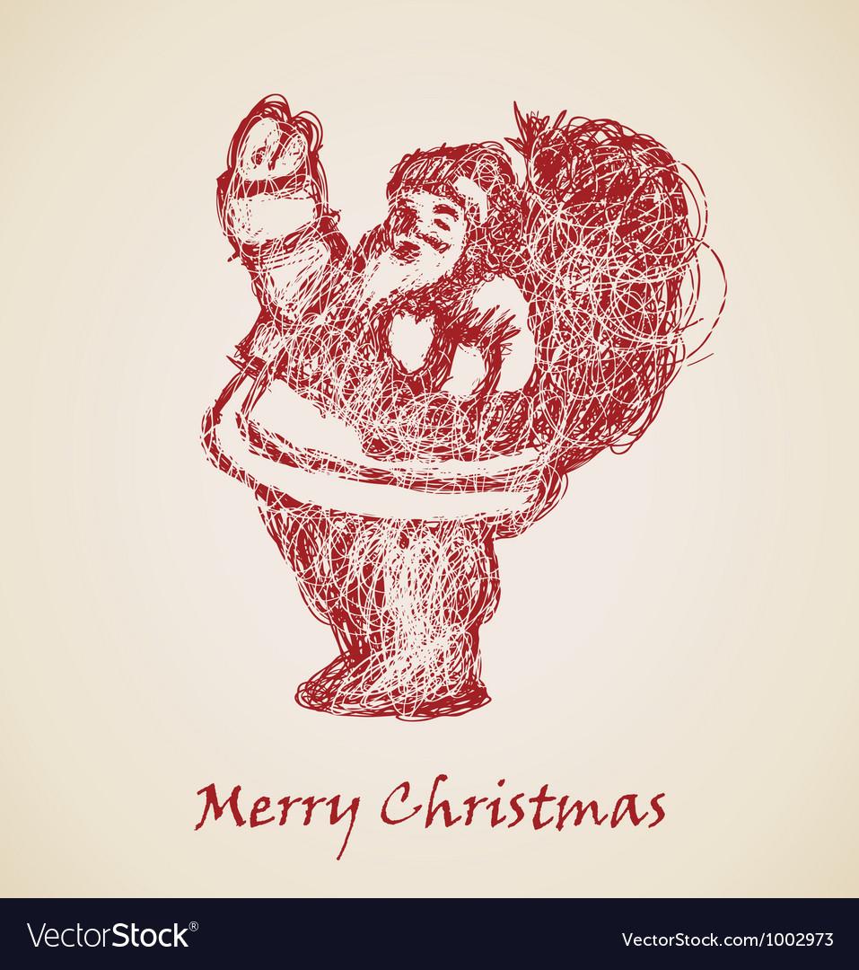 Santa claus sketch vector | Price: 1 Credit (USD $1)