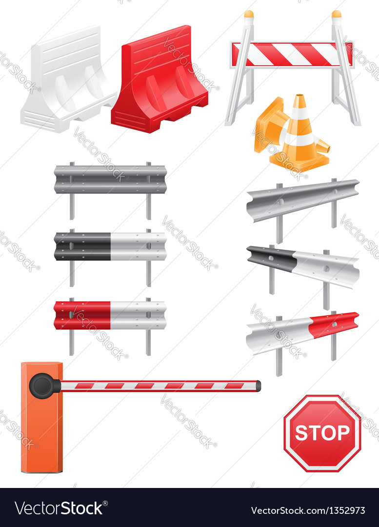 Set icoms road barrier vector | Price: 3 Credit (USD $3)
