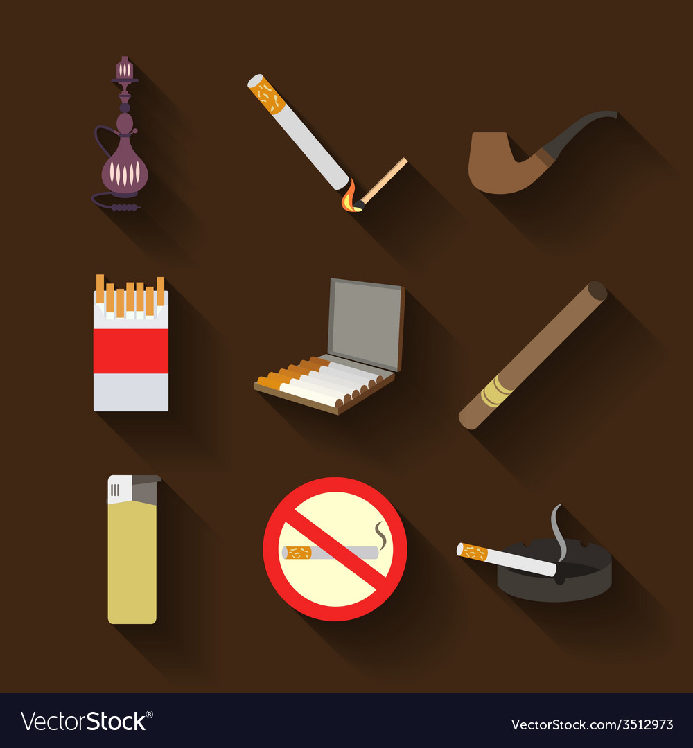 Smoking and accessories icons set vector | Price: 1 Credit (USD $1)
