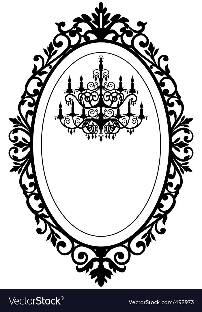 Vintage frame with chandelier vector | Price: 1 Credit (USD $1)