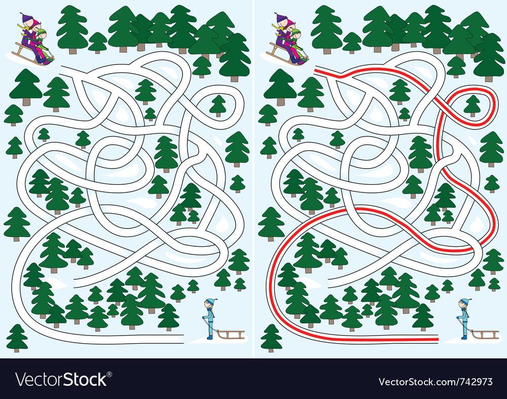 Winter maze vector | Price: 1 Credit (USD $1)